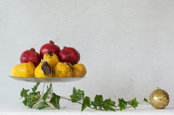 Still Life with Christmas fruits and Bauble