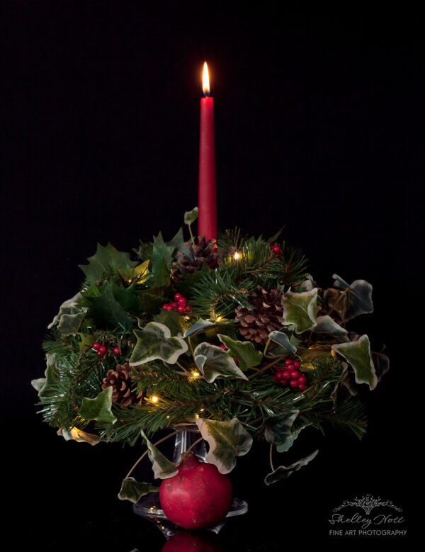 Christmas holly, ivy and pomegranate