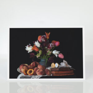 Still Life with Tulips and Peaches card