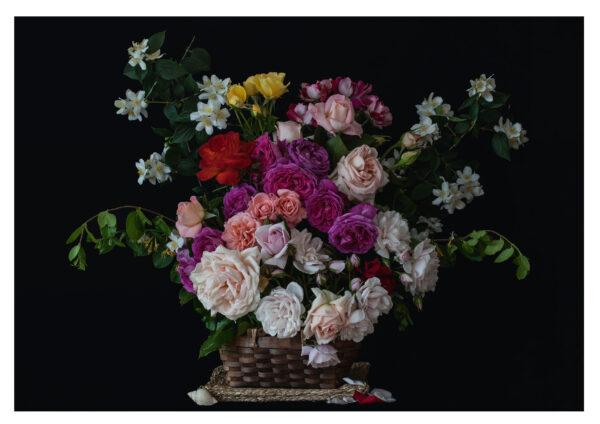 Rose arrangement in a basket