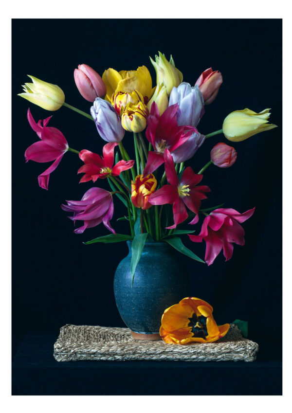 Tulips in a Pottery Vase