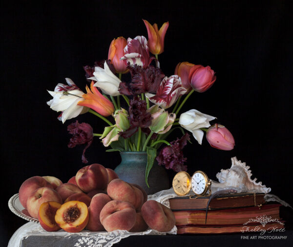 Still Life with Tulips and Peaches